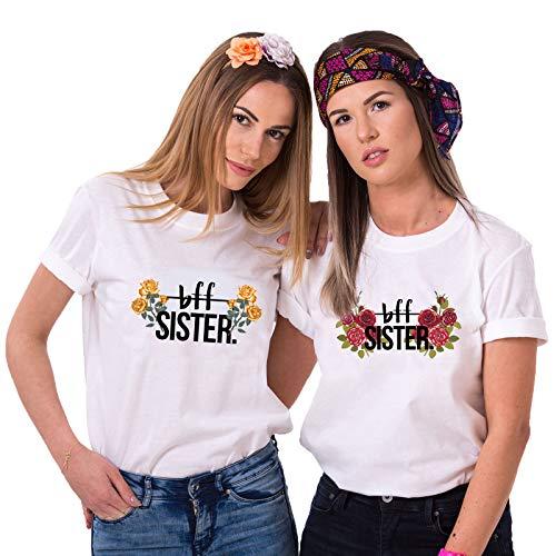 Burger Weißes T-shirt (Best Friends T-Shirts für 2 Mädchen BFF Sister Shirts für Zwei Damen Beste Freunde Tshirts Pärchen Freundin Geschenke (Weiß, L + L))