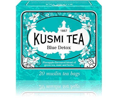 Kusmi Tea - Thé Bien-Être Blue Detox - Mélange de Thé Vert, Maté et de Plantes, Aromatisé Ananas - Idéal en Glacé - Boîte de 20 Sachets en PLA produits en Franc