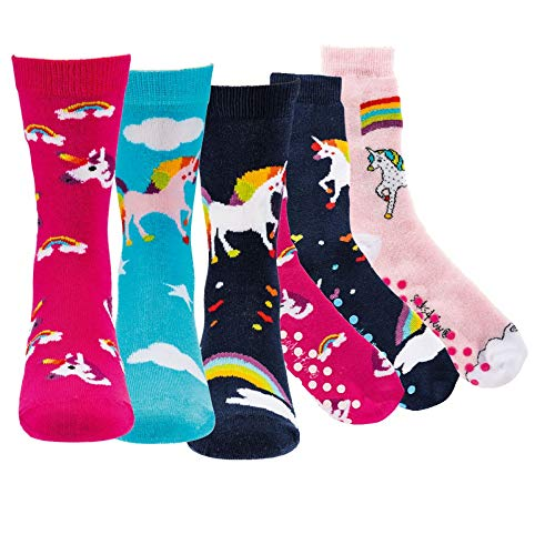 Kinder Thermo Stoppersocken ABS für Jungen und Mädchen Strümpfe mit Noppensohle Kids Socks Inhalt 6 Paar, (6 Paar, 27-30 Einhorn)