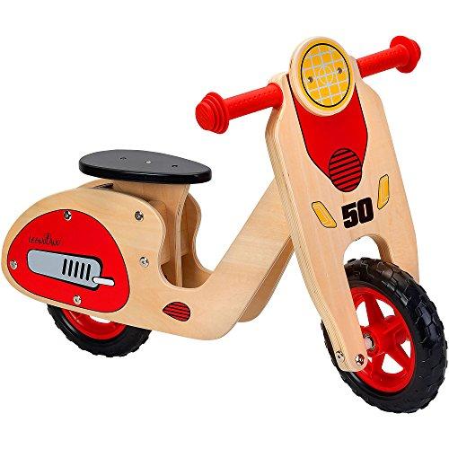 *Legnoland 37723 – Roller Aus Holz mit Einstellbarem Sattel, Rutschfahrzeug*