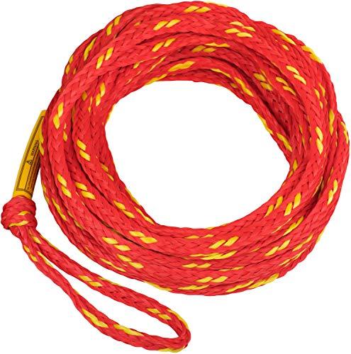 MESLE Schleppleine 2P 50\', schwimmendes Schlepp-Seil für 2-Personen, rot-gelb, Länge 15,2 m 50\', Polyethylen, Zug-Seil, Schwimmfähig, jeweils Auge an Enden, Fun-Tube, Tow-able, Boot Jet-Ski Yacht