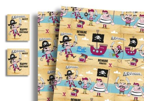 PaperGekko Geschenkpapier für Kinder X 5Blatt & 5Tags Pirat