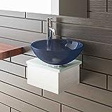 Alpenberger Milch- und Blauglas Waschplatz/Glas Möbel/Designer Waschtisch Serie 40 / Waschtische/Badezimmer /Gäste-WC/Waschschale / Glaswaschtisch/Glasschale