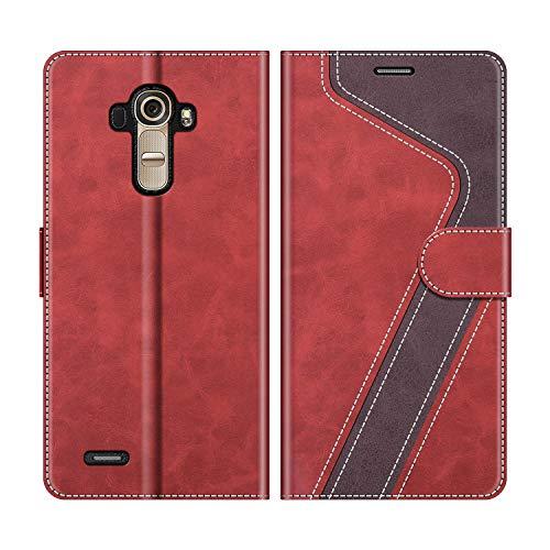 MOBESV Handyhülle für LG G4 Hülle Leder, LG G4 Klapphülle Handytasche Case für LG G4 Handy Hüllen, Modisch Rot