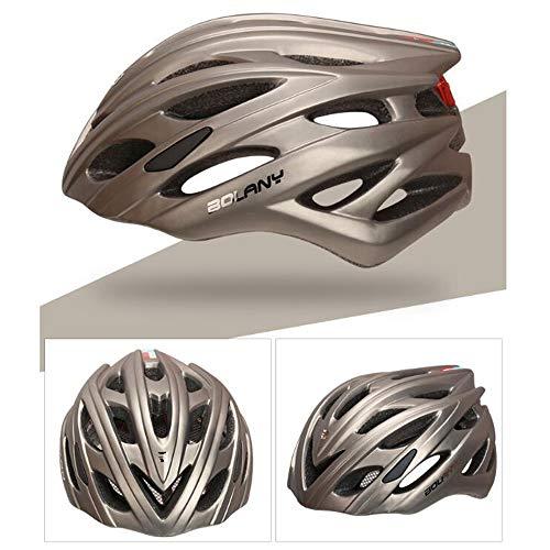 JW-DDP Fahrradhelm, Rennrad-Schutzausrüstung LED-Lichthelm, Sicherheitsschutz Bequemer Leichter atmungsaktiver Helm,Metallic
