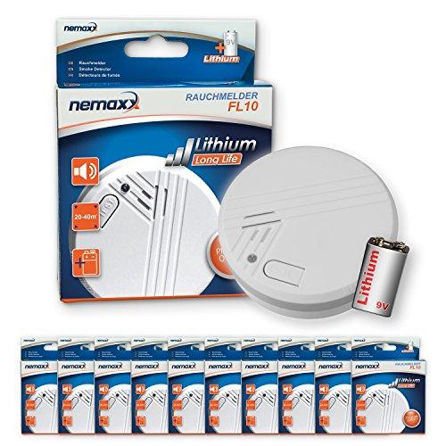 10x Nemaxx FL10 Rauchmelder - hochwertiger Rauchwarnmelder mit langlebiger 10 Jahre Lithium-Batterie...