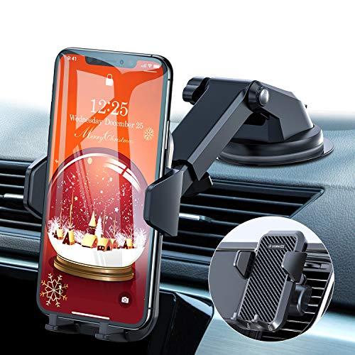 VANMASS Handyhalterung Auto Handyhalter fürs Auto 3 in 1 Kfz Handyhalterung Lüftung & Saugnapf Halter 100{0eea141a0077f37e12c164ef5010543e21f5707d85aadb252bbdaffe932da2c4} Silikon Schutz Smartphone Halterung Auto für iPhone Samsung Huawei Mate LG (Upgrade Version)