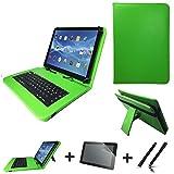 3in1 Starter set für Medion LifeTab P9514 Deutsche Tastatur Hülle | Schutz Folie| Touch Pen | 10.1 Zoll Grün Keyboard 3in77