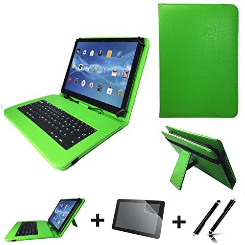 3in1 Starter set für ARCHOS 101b Xenon Deutsche Tastatur Hülle | Schutz Folie| Touch Pen | 10.1 Zoll Grün Keyboard 3in30
