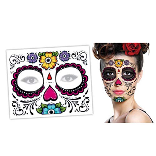 icht Stickers Halloween Tag Der Toten Gesichtsmaske Sugar Skull Tattoo Gruseliger Horror Beauty Aufkleber Party Dekor Aufkleber (A) ()