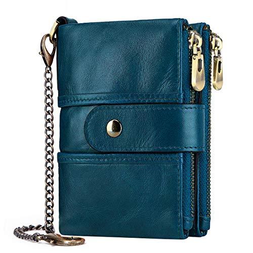 TEUEN Geldbörse Damen Klein Viele Fächer Damen Portemonnaie Frauen Leder mit Kette, RFID Damengeldbeutel mit Münzfach Reißverschluss Portmonee Damen Viele Kartenfächer Echtleder Wallet (Blau) -