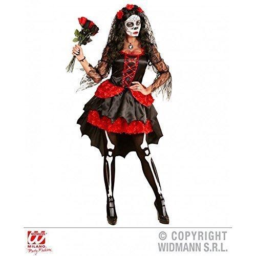Kostüm dia de los muertos / Tag der Toten mit Kleid und Schleier / Damenkostüm / Halloweenkostüm Gr. M = 38 - 40