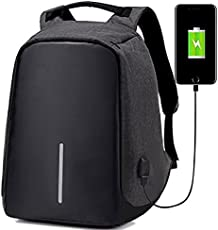 Deals Outlet Polyester 15-inch Black Casual Backpack with Inbuilt USB Charging Port