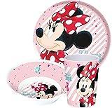 Disney Minnie Maus Kinderservice mit Teller, Müslischüssel und Trinkbecher aus Melamin