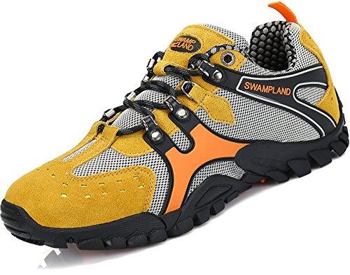 Hiking Trekking Schuhe Herren Wanderschuhe Männer Rutschfeste Atmungsaktiv Low Top Outdoor Sneaker Gelb, 41 EU