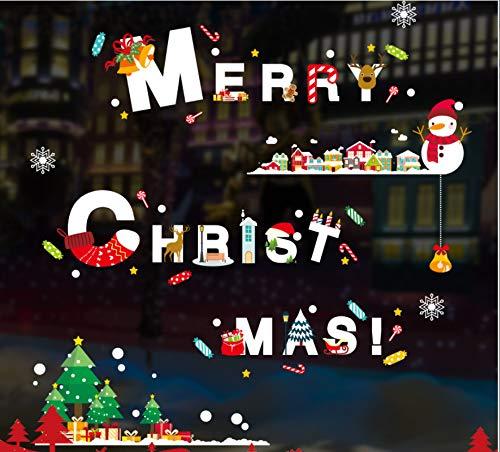 Yirenfeng Weihnachten Schneeflocke Walling Szene Anordnung Baum Glas Schaufenster Türen, Wände, Papiere, Fensterdekorationen, B