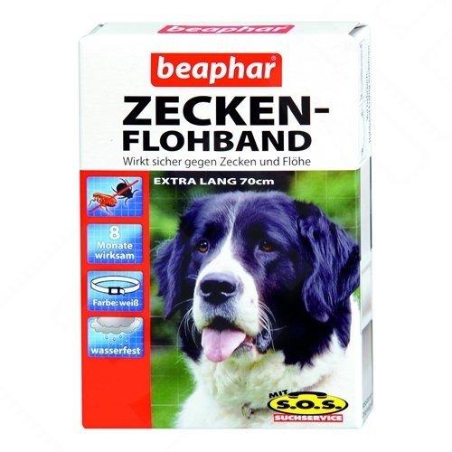 Artikelbild: Beaphar 12173 Zecken-Flohband Hund extra lang, Wirkt 8 Monate gegen Zecken und Flöhe, Wasserfest, 75 cm (XL), Weiß