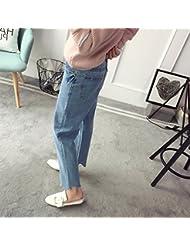 Pantalones de talle alto Corea damas primavera moda casual pantalones pantalones de la mujer con pies encuadernados estudiantes,M,Azul claro