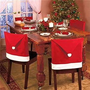 Shatchi 3525-Christmas - Juego de 10 fundas para sillas de Navidad, color rojo y blanco
