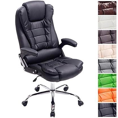 CLP Silla de escritorio THOR, silla de oficina con altura del asiento regulable, respaldo reclinable , tapizada en piel sintética y soporta un peso máximo de 150 kg, acolchado grueso para mayor comodidad