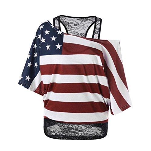 AMUSTER Damen Sommer Kurzarm T-Shirt Große Größe Shirt Top Amerikanische Flagge T-Shirt Bluse Basic Shirt mit Off Shoulder Mehrfarbig T-Shirts mit Kurzarm (XL, Rot) - Chinesen In Roten T-shirts