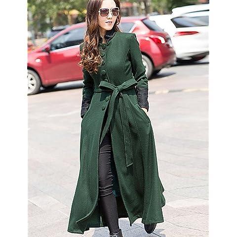 Da Wu Jia señoras cubra la mujer/Diario casual simple zanja Coat,sólido invierno Manga Larga negro / verde Lana , m