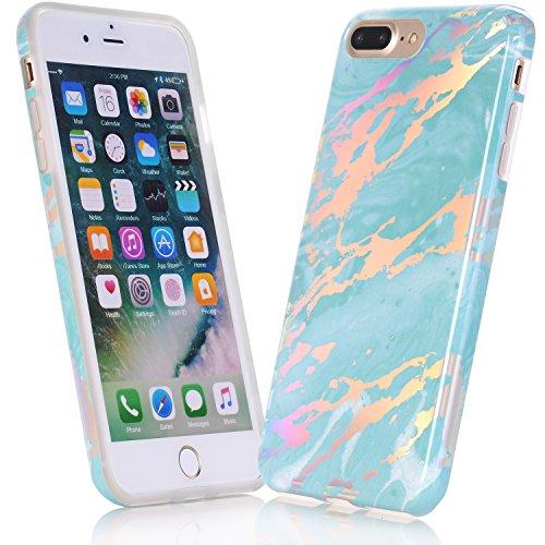 Coque iPhone 7, Coque iPhone 8, JIAXIUFEN Silicone TPU Étui Housse Souple Antichoc Protecteur Cover Case - Noir Or Marbre Désign Shiny Change Blue