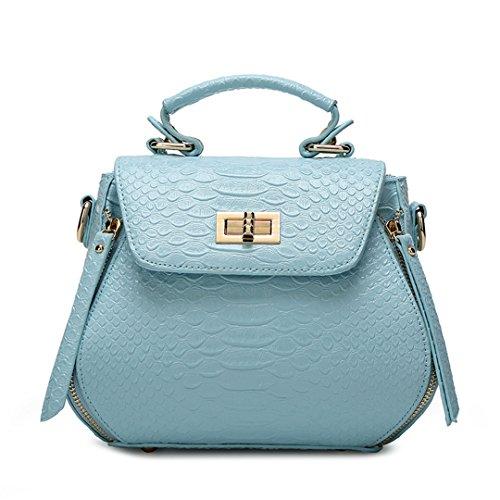 Wewod Mode neue Krokodil Muster Handtasche weiblichen Tasche reine Schulter Motorrad Tasche Diagonale Paket Blau