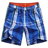 Yuanu Herren Mode Schnell Trocken Karierte Strandshorts Weich Komfortabel Lose Atmungsaktiv Kordelzug Kurze Hosen Mehrfarbig Stil 5 2XL