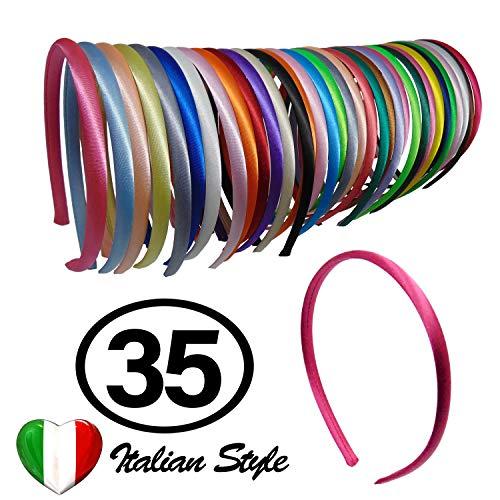 35 Cerchietti per Capelli Renmex Bambina Ragazza Multicolore Alta Qualità Fasce Coperte da Nastro Tessuto Raso Tanti Colori Accessorio Aspetto
