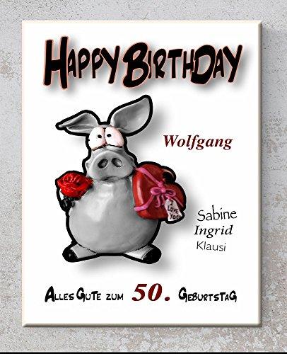 Keramik-Schild - Happy Birthday - Personalisiert mit Namen und Datum - Wandbild mit Spruch, Sprüchen für Ehepaare als Hochzeitsgeschenk