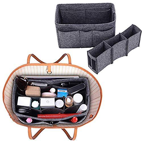 Xiton Taschenorganizer Filz,Organizer Tasche,Taschen organisator für Handtaschen Makeup Organizer Geldbörse für Speedy 30 Neverfull MM Large für Taschen ab 30cm Innenmaß - Grau -