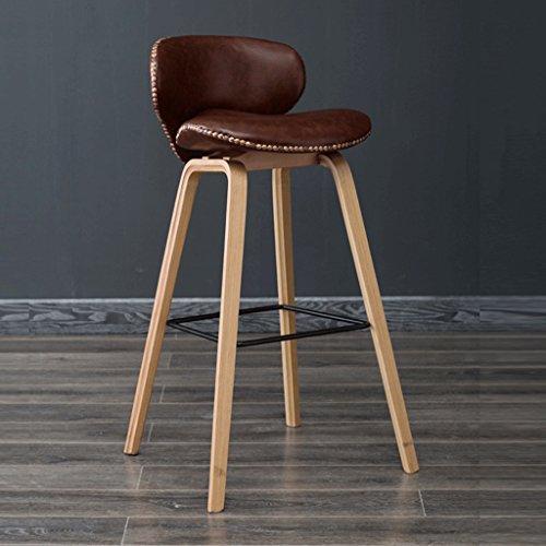 Barhocker YYF Massivholz, braune Sitzbezüge Möbel dekorative Hocker, Freizeitstühle, (Farbe : Wooden Legs, größe : H79CM) - Hohe Rückenlehne, Braunes Leder