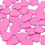 DEKOWEAR Coeur auto-adhésif avec de la colle point 50 pièces pour la Décoration en Bois, 18 mm en signe de coeur en forme de l'amour - Charme de Bonne Chance à la main (Pink)