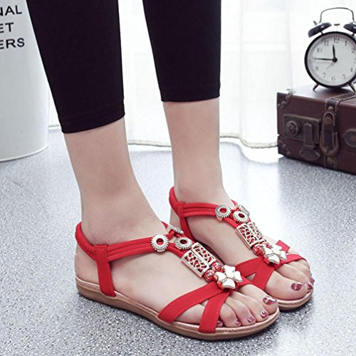 Transer® Damen Sandalen Flach Künstliches PU+Gummi Schmetterling Wulstig T-Gurt Schwarz Beige Rot Sandalen (Bitte achten Sie auf die Größentabelle. Bitte eine Nummer größer bestellen) Rot