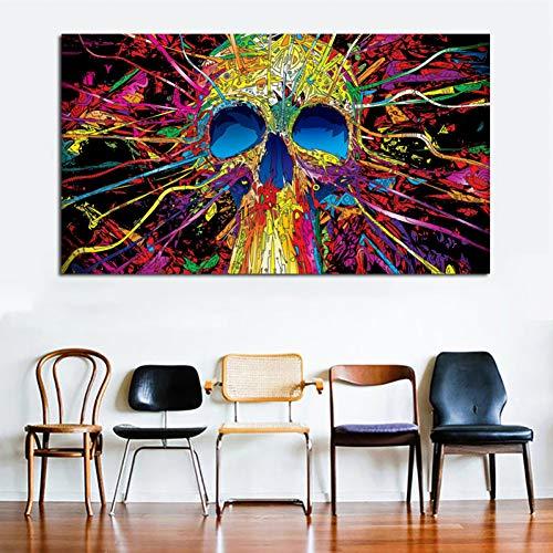 YCOLLC Lienzo de Pintura Lienzo de Calavera de Colores Abstractos...