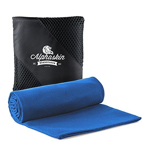 Alphaskin Premium Fitness Handtuch Set | Mikrofaser Handtücher mit praktischer Tasche für Sport, Fitnessstudio und Reisen | saugfähig | schnelltrocknend | antibakteriell | ultra leicht | 50cm x 100cm (blau)