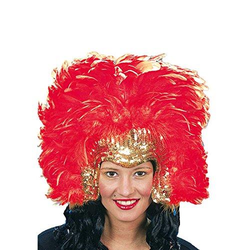 Tänzerin Brasilianische Kostüm - NET TOYS Federkopfschmuck Samba Kopfschmuck Gold-rot Federschmuck Rio Accessoire Brasilianische Tänzerin Kostümzubehör Sambatänzerin Haarschmuck Federn