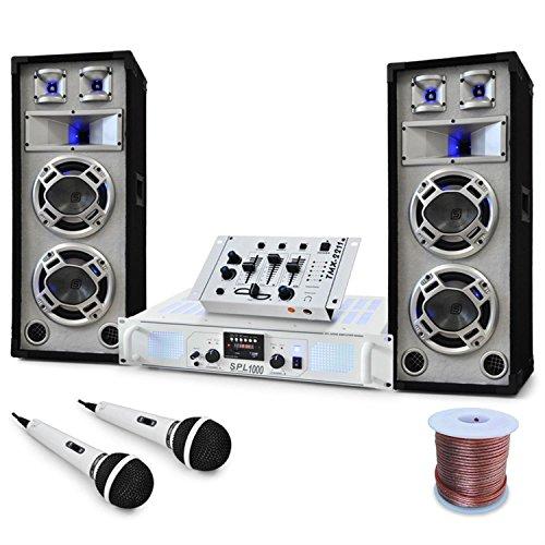 DJ PA Set Polar Bear Design PA Komplettset white/weiss (Skytec SPL1000 Watt, 3-Wege 600W PA-Box, Mixer, Mikro) 2200W max.