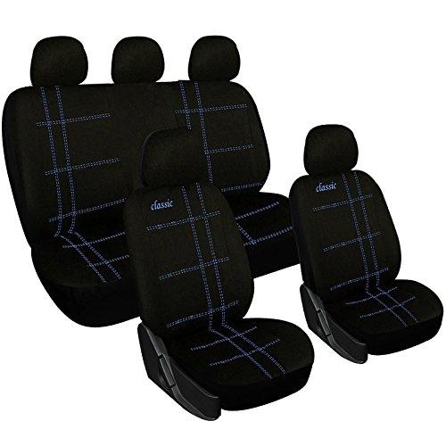 Woltu 7206-b Coprisedile Completo Seat Cover Auto Poliestere Universale Classico Nero/Blu