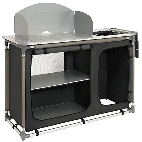 CampFeuer–Armadio da campeggio, cucina da campeggio con struttura in alluminio, paraspruzzi e lavabo,dimensioni (lunghezza x larghezza x altezza): ca. 117 x 50 x 111 cm