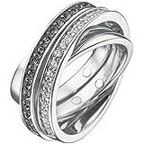 JETTE Silver Damen-Ring Tender 925er Silber 20 Zirkonia 16 Kristall (silber)