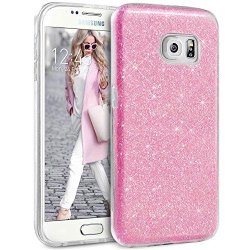 Coque Samsung S6 Paillette Argent, TheBlingZ.® Housse Etui Protection Brillante Paillette Case pour Samsung Galaxy S6 - Argent Rose