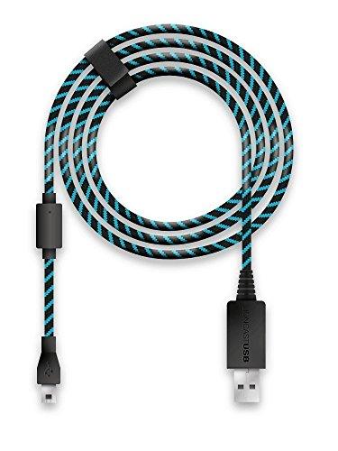Lioncast Cable de recharge manette pour Xbox One et PS4, 4 mètres, Micro USB 2.0 – Bleu et Noir