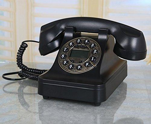 MMM- Retro Antique Wählscheibe Key Dialing Telefon Continental Wohnzimmer Retro Telefon Schlafzimmer Fester Dial (Caller ID, IP-Funktion) ( Farbe : Black button normal version ) -
