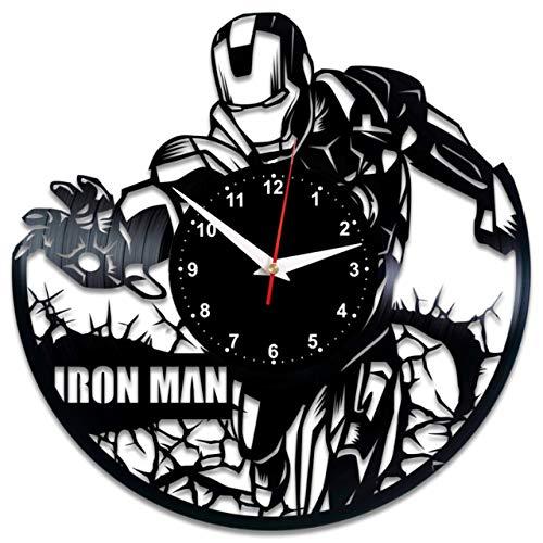 hr Vinyl Schallplatte Retro-Uhr groß Uhren Style Raum Home Dekorationen Tolles Geschenk Wanduhr Iron Man ()