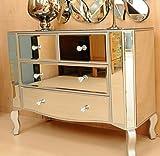 Venice Italian Style Art Deco Groß Glas 4Schubladen verspiegelt Kommode Champagner mit Silber Trim