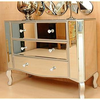 Lange Barock Kommode / Fernsehschrank / Sideboard Silber