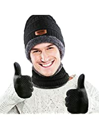 Winter Beanie Hat, Scarf and Touchscreen Gloves 3 in 1 Warm Accessory Kit with Soft Fleece Lining for Men Women - Schwarz