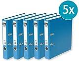 ELBA 100022849 Ordner rado brillant 5 cm schmal DIN A4 blau 5er Pack Qualitäts Ringordner Aktenordner Briefordner Büroordner Pappordner Schlitzordner